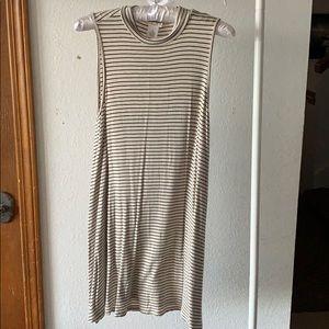 Striped Cream Mock Neck Tank Dress